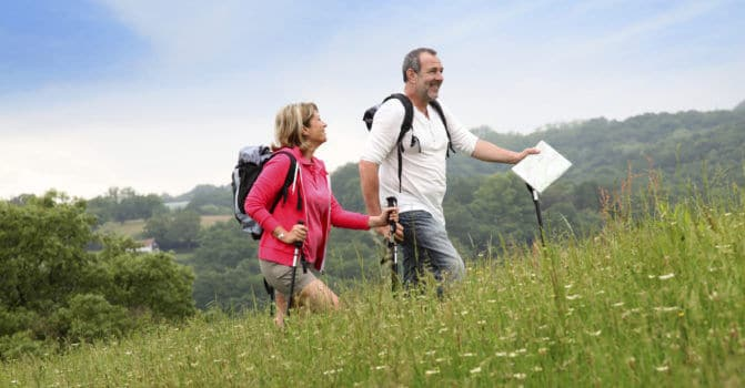 Couple hiking in countryside with map