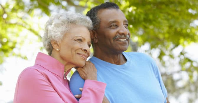 Senior couple looking forward to retirement and thinking about their Medicare Options.
