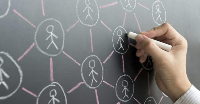 Illustration on a white board of a network of people
